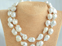 0001911 20mm WHITE BAROQUE KESHI REBORN PEARL NECKLACE 35inch
