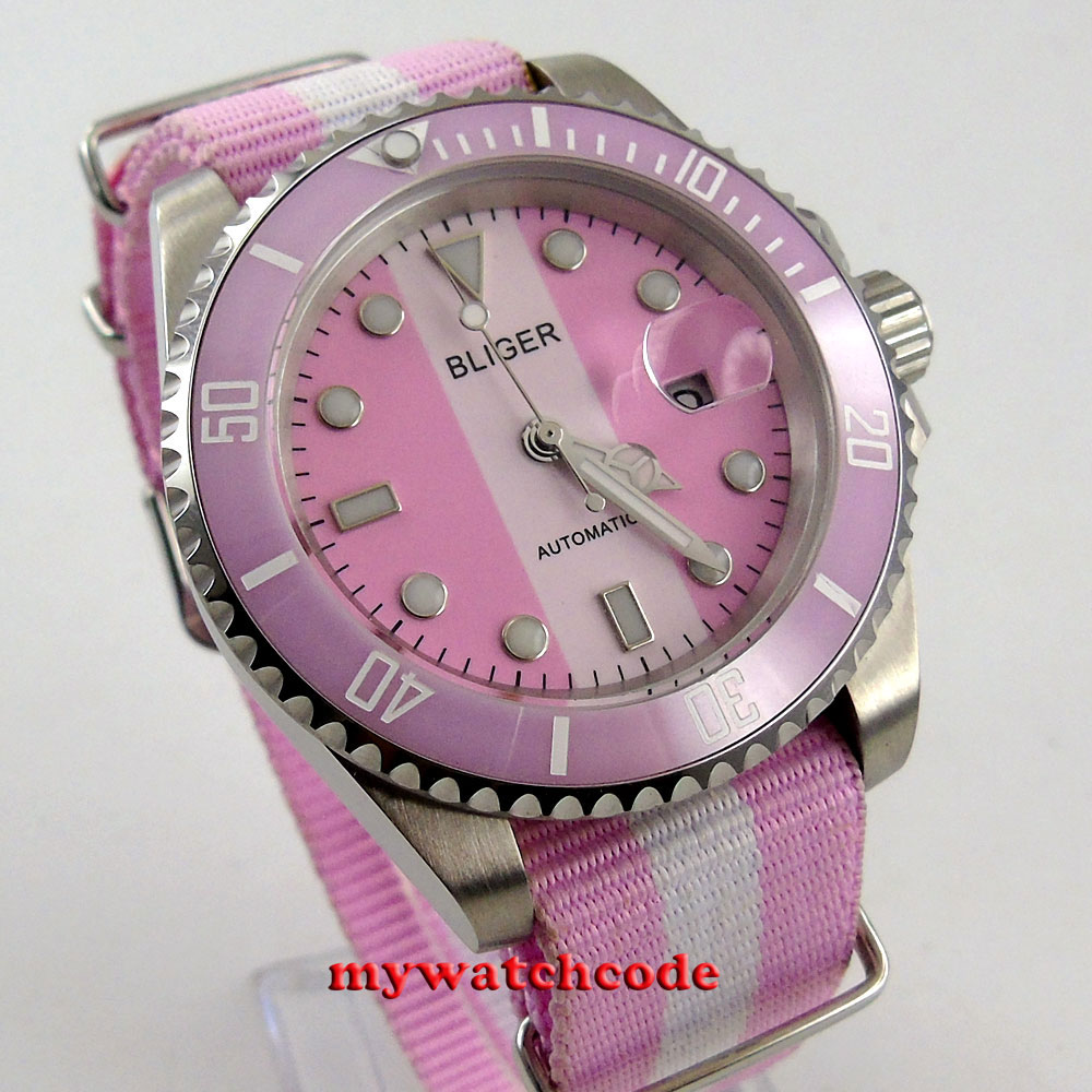 40mm Bliger pink dial date sapphire crystal automatic movement womens watch 115 цена и фото