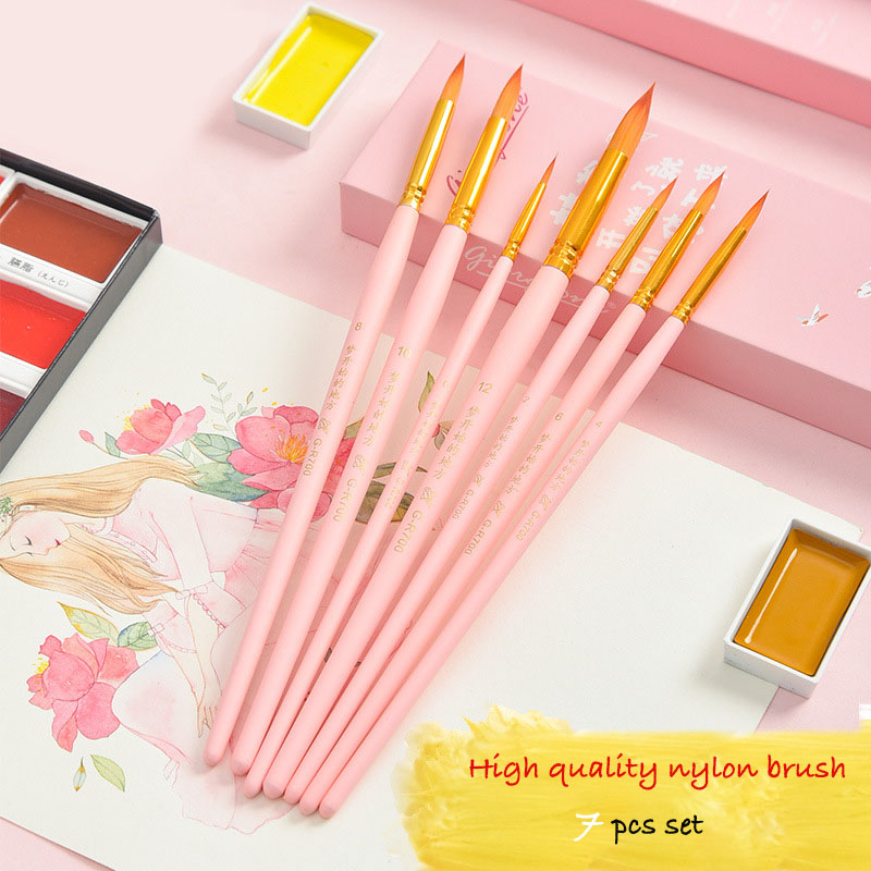 7pcs Dream Pursue Series Round Head Nylon Paintbrush Suite Beginner Adult Professional Drawing Art Painting Watercolor Brush Set