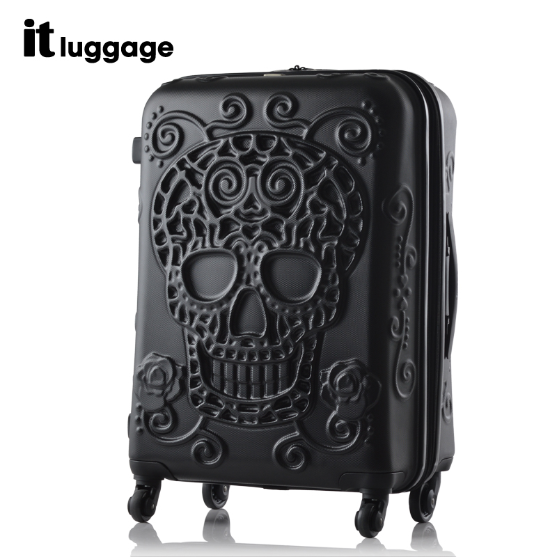 New! 19 inch 24 28 ABS travel luggage trolley bag case journey suitcase stereo skull print - LUGGAGE CASE HANGZHOU store