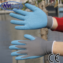 NMSafety 6 Pairs Grey nylon Liner Coated Blue Latex Safety Work Gloves Crinkle Finish Slip Resistant Glove