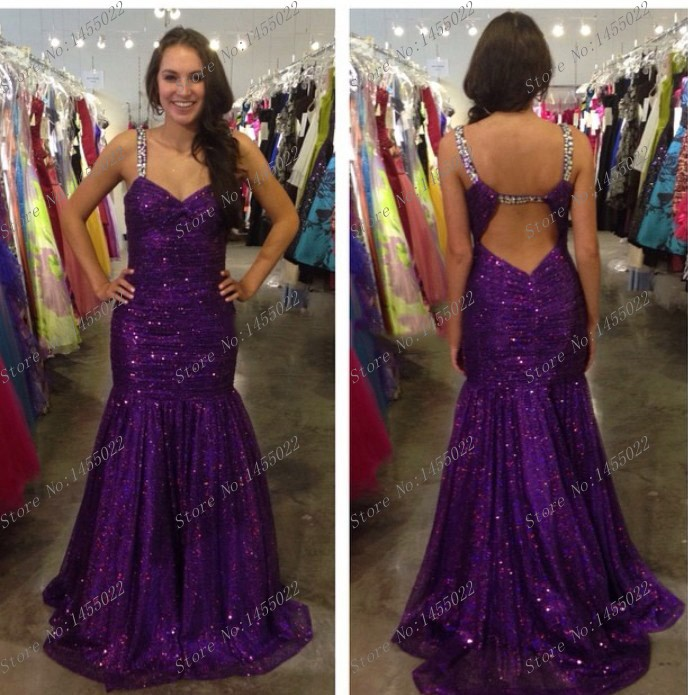 Purple Rhinestone Dresses