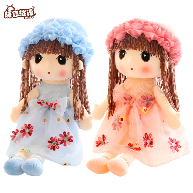 RYRY 35cm 5Colors Stuffed Angela Plush Doll Girl with Lace Embroidered skirt Fashion Popular Girl Toys for 1-3 years Girls pink wool coat doll clothes with belt for 18 american girl doll