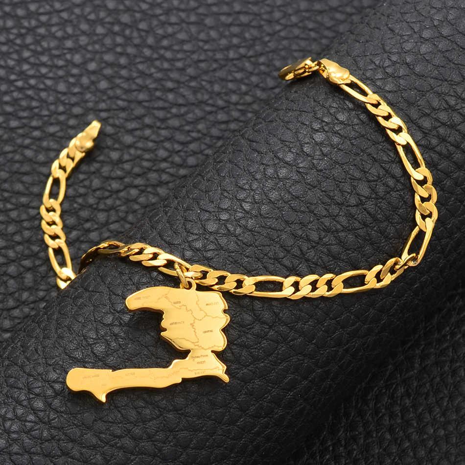 Anniyo Charm Haiti mapa bransoletki bransoletki mężczyźni kobiety dziewczyna Ayiti mapy biżuteria Haiti akcesoria Link Chain Bracelet #104521