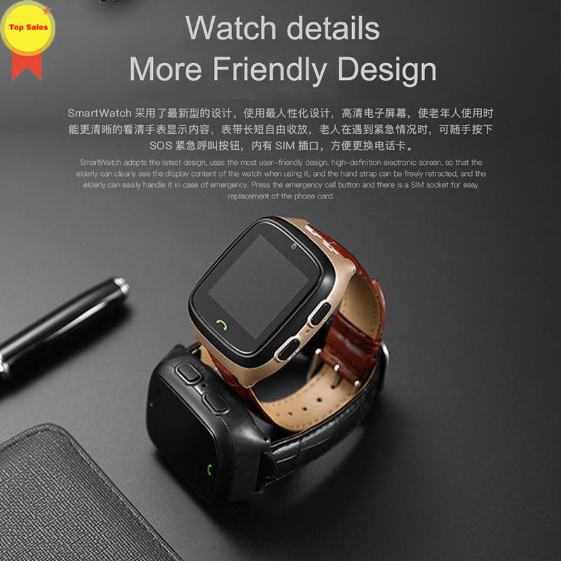 New HD touch screen Elder Smart watch old man Heart Rate bp Watch GPS Track Watch Voice chat SOS Fall down Alarm remote monitor - 4