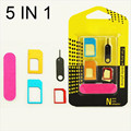5 in 1 Nano Sim Card Adapters + Regular  Micro Sim + Standard SIM Card & Tools For iPhone 4 4S 5 5c 5s 6 6s Retail Box