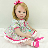 Reborn Baby Doll 60 см мягкое прикосновение Реалистичные модные детские подарок на день рождения с прямыми волосами Полный средства ухода за кожей