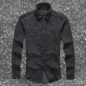 Image 5 - Черная джинсовая рубашка Для мужчин брендовые Длинные рукава стенд воротник Для мужчин рубашка с цветочным узором печати случайные slim fit camisa социальной masculina S2002