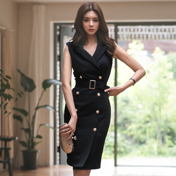 New Women Summer Office Lady Belted  Vestidos Sleeveless Work Wear Slim Double Button Sexy Forean Fashion Style Dress Clothes brief sleeveless note bird print belted women s dress
