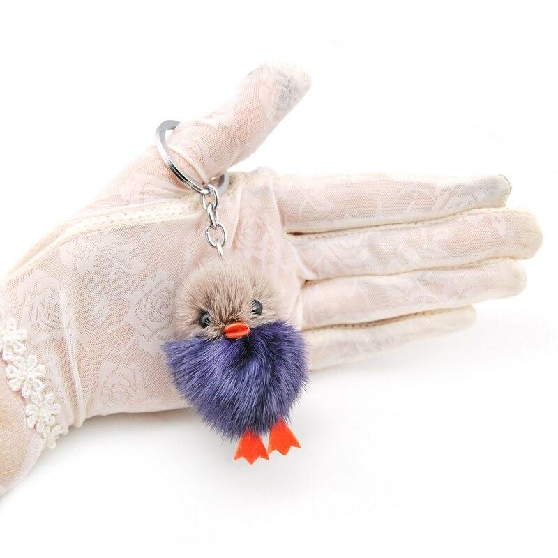 Upouusi söpö fluffy ankka avainketju naiset aito mininki turkis - Muotikorut - Valokuva 4