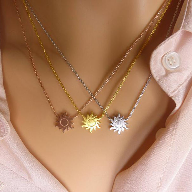 Minimalism Sun Necklaces For Women Rose Gold Jewelry Friendship Gift Stainless Steel Long Chain Sunburst Necklace Collier Femme