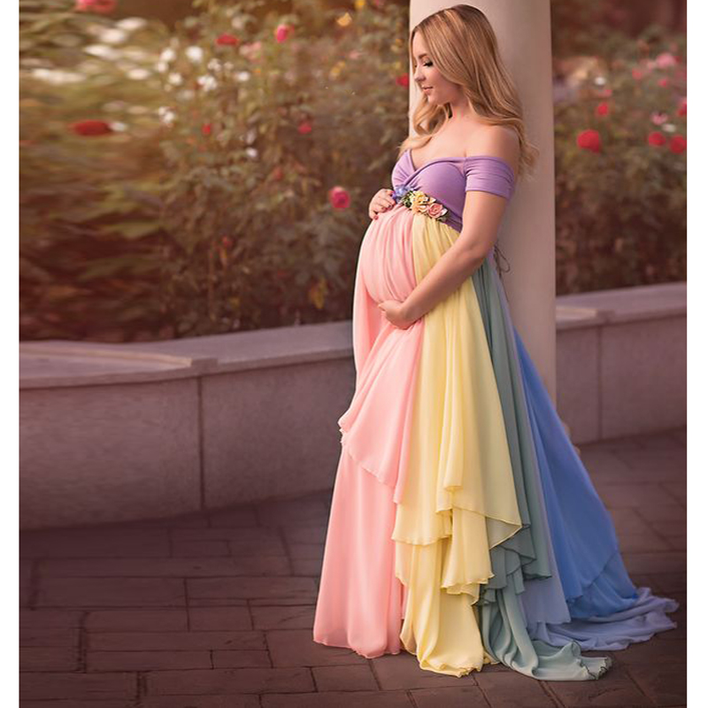 Pretty Mix Color Chiffon Long Skirts Maternity Ruffles Modest Floral Pregnant Female Maxi Skirt For Women With Flower Sash