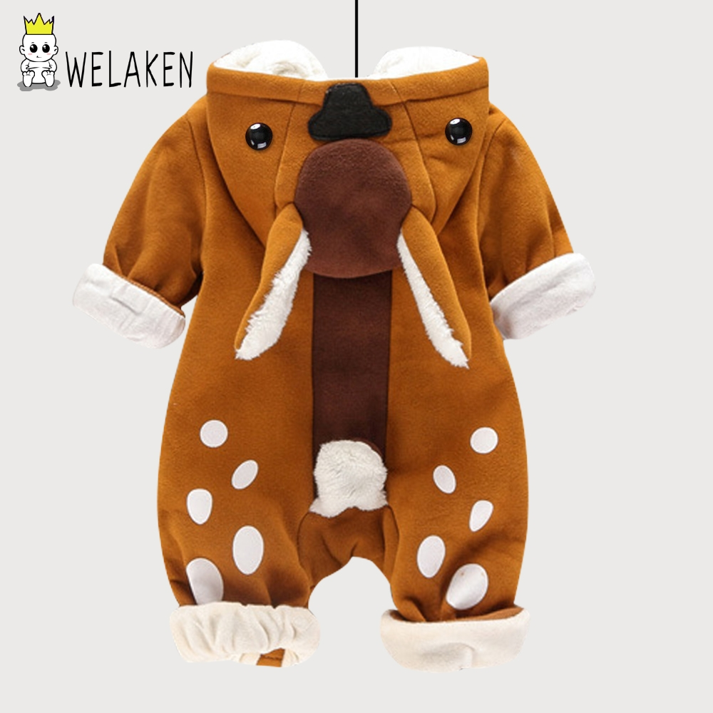 welaken 2017 New Arrival Baby Rompers Cute Cartoon Animal Deer Thick Clothing Winter Boys Girls Warm Cotton Snow Wear Jumpsuits baby clothing infant baby kid cotton cartoon long sleeve winter rompers boys girls animal coverall jumpsuits baby wear clothes