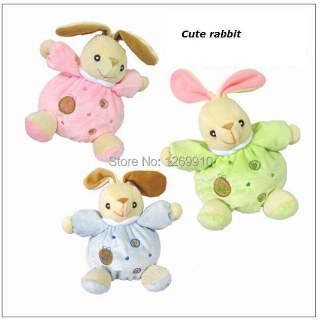 La muñeca de conejo de peluche apacigua, sonajeros incorporados, modelos de animales educativos 16 cm