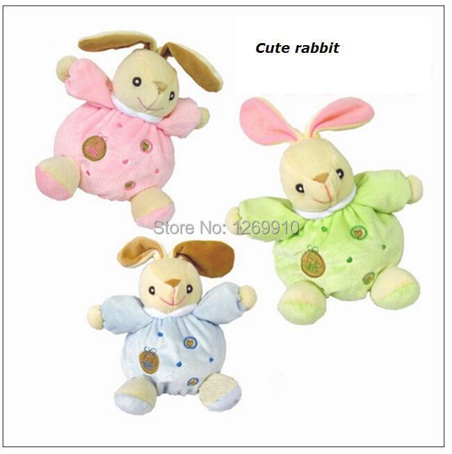 Плюшени Зайче Бебешки кукли се успокояват, Вградени дрънкалки, Образователни животински модели 16см