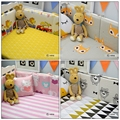5pcs/set Crib Bumpers 4 Styles Cotton Baby Bed Bumper Liner Baby Cot Sets Bed Around Protector fox bear lion cat