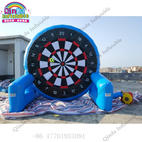 0.55mm PVC 4m Double Sided Dart Disc With Sticky Football Inflatable Soccer Dart Board Games Blue Color