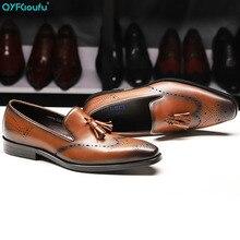 Vintage Fashion British Style Formal Shoes Men Dress Genuine Leather Mens Slip-on Tassel Handmade Office