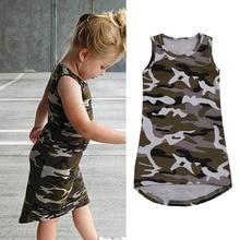 Kids' Clothing Girls Dress Summer 1-5Y Children Girls Military Dress Cool Girls Fashion Sleeveless Dress for Kids Girls
