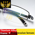 2017 Fashion Quality Men's Style Titanium Alloy Progressive Reading Glasses Multifocal Half Rim Coating Presbyopia Frame for men