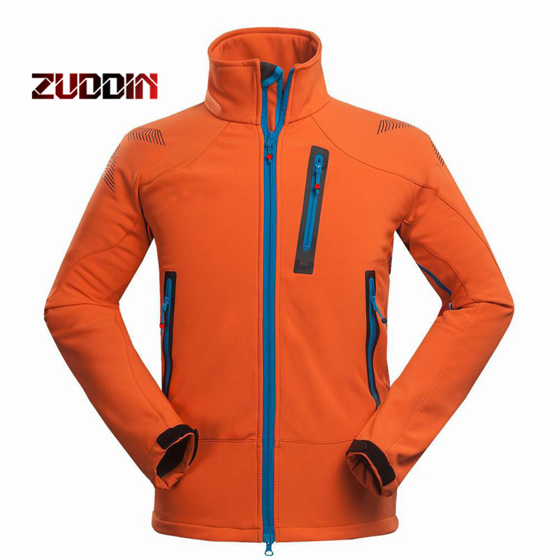 цена на Dropshipping Waterproof Windproof Thermal Tech Fleece Hiking Jackets Men Outdoor Softshell Jacket Outdoor Climbing Fishing