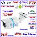 Ambarella ip 3MP cámara 2.0MP WDR cámara ip 1080 P IMX123 Sensor al aire libre 24LED Seguridad P2P ONVIF 2.4, 3.6mm de la Lente HD con soporte