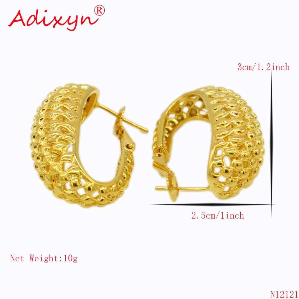 Adixyn אפריקאי עגילי חישוק לנשים זהב צבע & פליז עגיל ערבי/האתיופית מתנות N12121