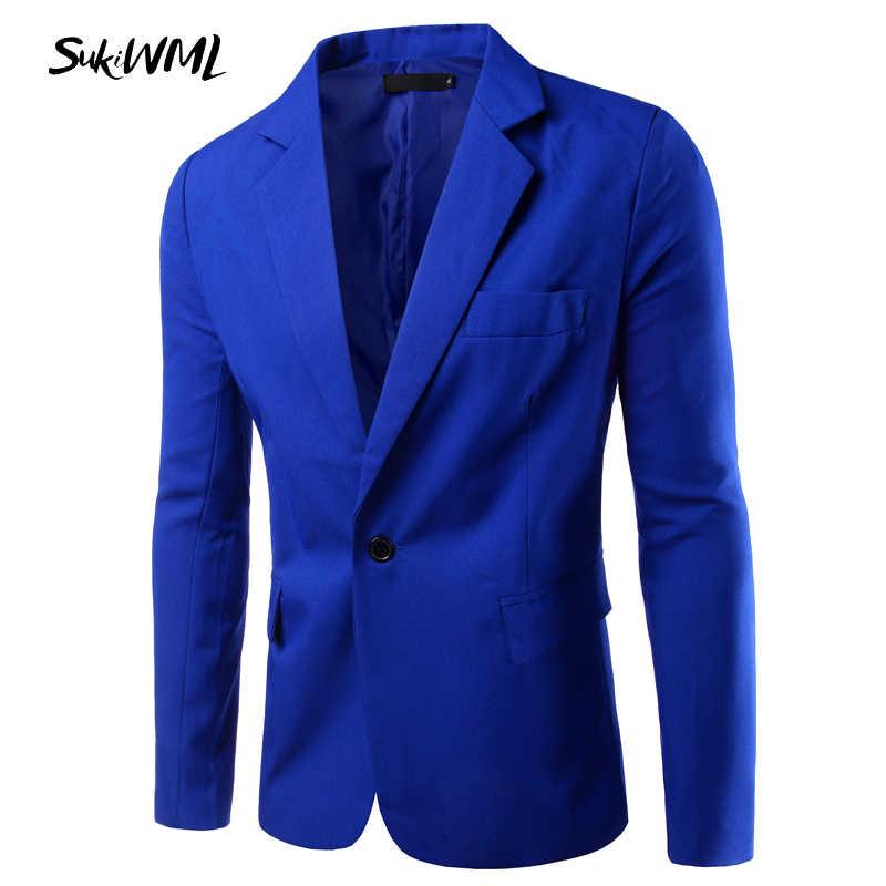 Sukiwml 2017新ブランド卸売7色男性ブレザースリムフィットシングルボタン男性ブレザー白男性スーツカジュアルジャケットm-3xl