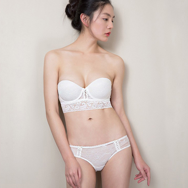 ded91c20e1c 1 2 Cup Bra Sets Lace Women Lingerie Underwear Set Push Up Hot Transparent  Invisible Widened Back Bra Brief Sets for Women 8103