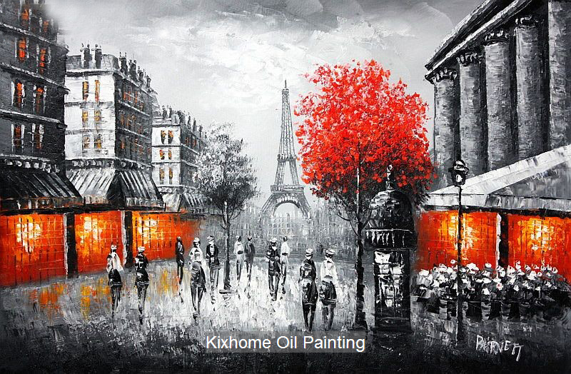 hot Eiffel tower in paris thick knife oil painting replica