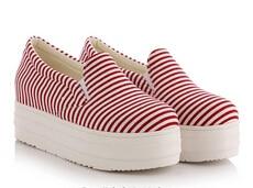2015 Aurumn Мода Лифт Платформы Плоские Туфли Для Женщин Черный Синий Красный Полосы Скольжения На Холст Лианы Обувь