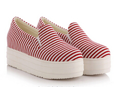 2015 Aurumn Fashion Elevator Platform Flat Shoes For Women Black Blue Red Stripe Slip On Canvas  Creepers Shoes