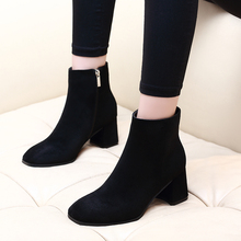 Hot Sale Winter Autumn Casual Women 6CM High Heels Pumps Warm Ankle Boots Woman Kid Suede Leather Shoes CH-A0124