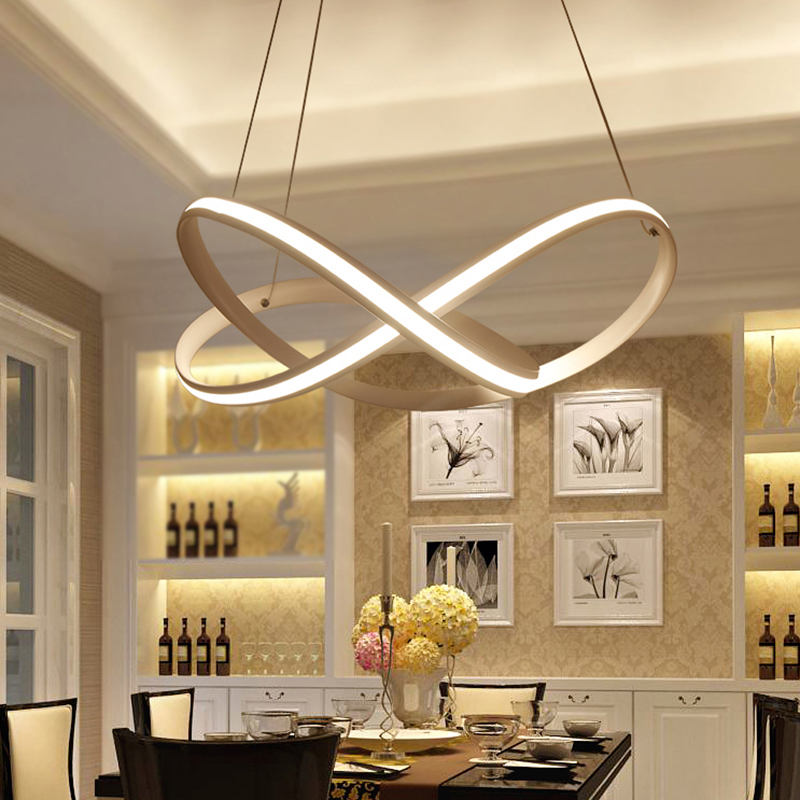 NEO Gleam Restaurant Bar Dining Room Kitchen Room Chandeliers Modern Led White Color Auminum Body Hanging Pendant Chandeliers