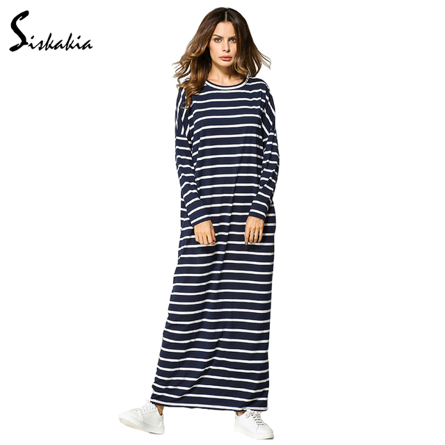 Siskakia женщин случайные свободные полосатый прямое платье осень 2017 Длинные рукава Круглый воротник длинное платье футболка одноцветное платье