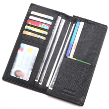 Men Wallets Genuine Leather Business Style Purse High Quality Long Lar