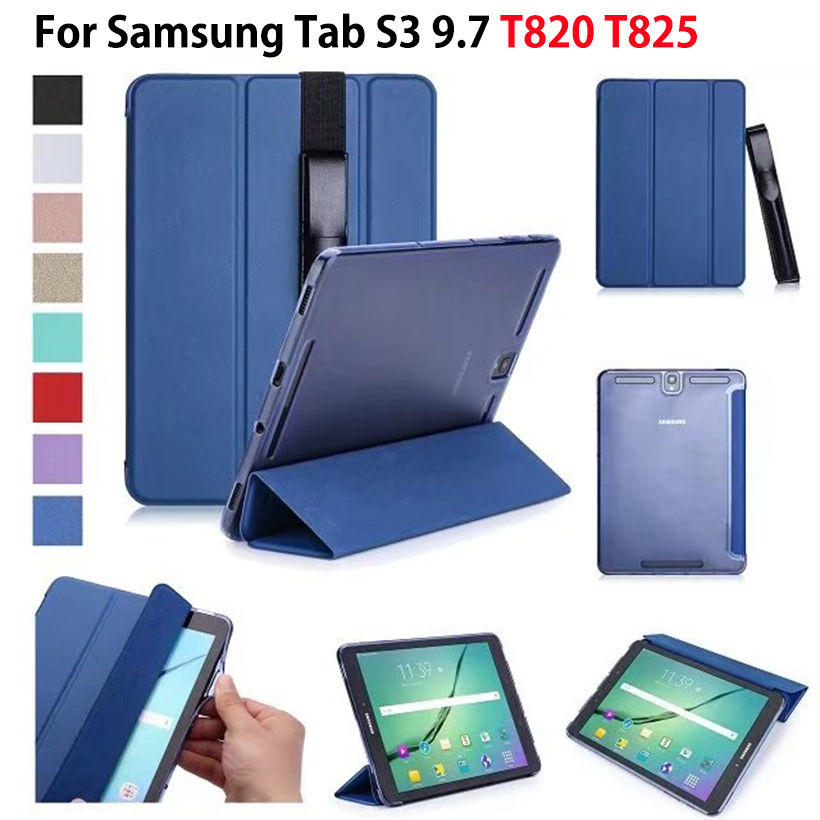 Tab S3 9.7 Super Slim Folding PU Smart Cover For Samsung Galaxy Tab S3 9.7 T820 SM-T825 Case Funda Tablet Stand Shell+Pen Pouch fashion cartoon kids case for samsung galaxy tab s3 9 7 t820 sm t825 cases smart cover funda tablet pu leather stand shell coque