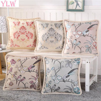 YLW 2017 New Chinese Embroidered Flowers And Birds Cushion Cover Silk Cotton 3D Jacquard Pillow Case
