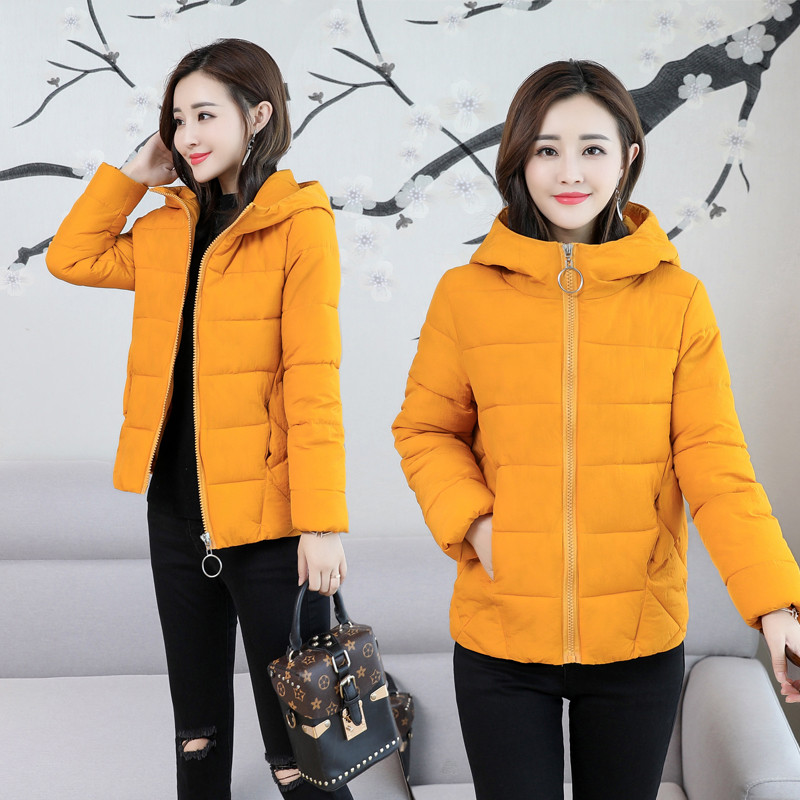 b 2019 Jacket Women Winter Fashion Warm Thick Solid Short Style down Cotton Hooded padded Parkas woman Coat plus size S-6XL