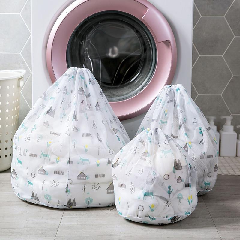 Vanzlife Printed Drawstring Laundry Bag Clothes Wash Bag Washing Machine Laundary Bag Large Mesh Bra Underwear Bag