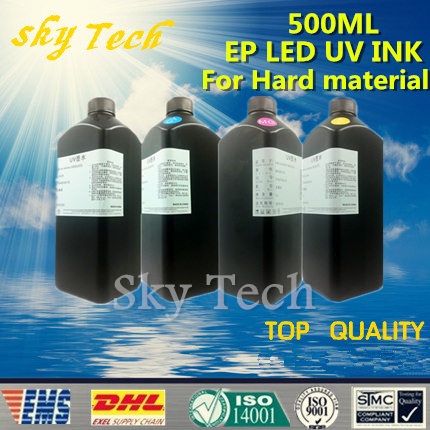 500ML*4 LED UV INK , BK C M Y , UV ink FOR Epson printhead Uv printer .for hard materials 500ml 6bottles set led flexible uv ink for epson r280 r290 r330 l800 1390 1400 uv printer dx5 dx7 uv led ink bk c m y 2white