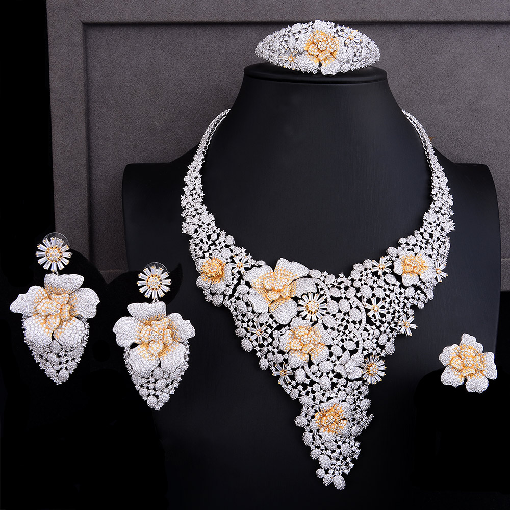 GODKI Luxury Shiny Snowflake Flower 4PCS African Jewelry Sets For Women Wedding Cubic Zircon Nigeria Dubai