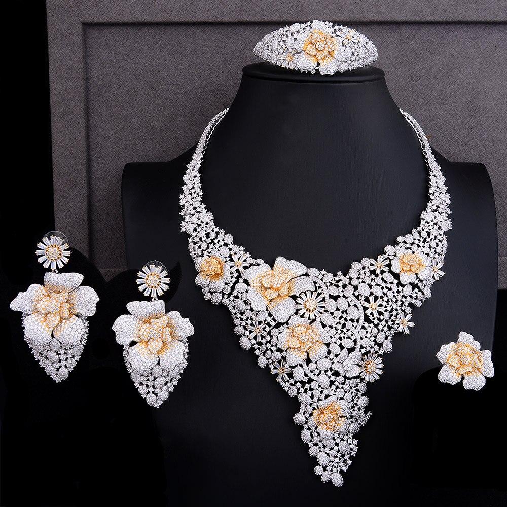 GODKI الفاخرة لامعة ندفة الثلج زهرة 4 PCS الأفريقي طقم مجوهرات s للنساء الزفاف مكعب الزركون نيجيريا دبي الذهب طقم مجوهرات 2019-في أطقم المجوهرات من الإكسسوارات والجواهر على  مجموعة 1