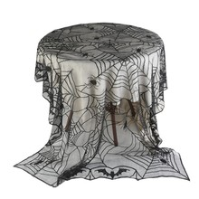 Round Spider Web Design Tablecloth Table Cover Beautiful Black Lace Tablecloth  Halloween Party Decoration Supplies ourwarm 1pc halloween table cloth party table decoration spider web lace design rectangle tablecloth with ghost party decoration
