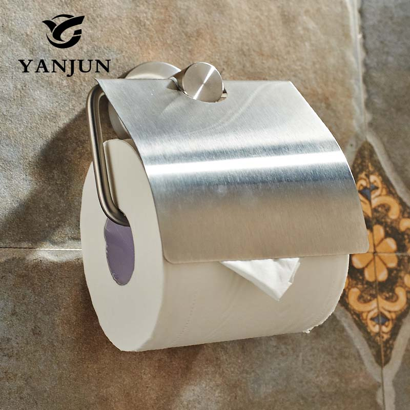 Yanjun Brushed Stainless Steel Toilet Paper Roll Holder With  Flap Wall Mounted Paper Towel Holder Bathroom Accessories YJ-7557 купить