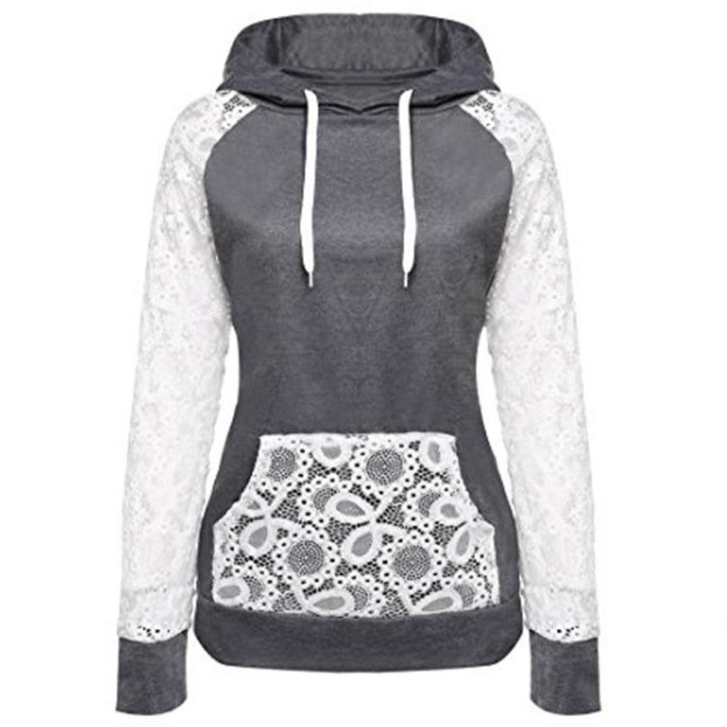 New 2017 Autumn And Winter Lace Stitching Women Hoodies Sweatshirt Long Sleeve Casual Pocket Design Hoodie For Women WT#T3