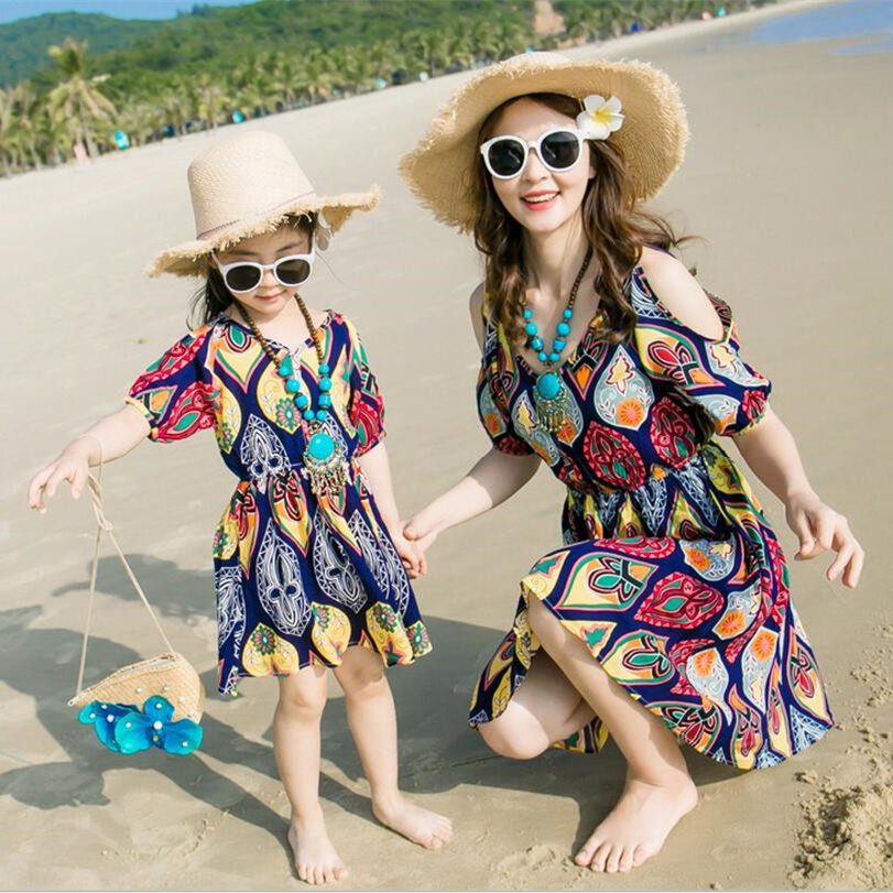 2017 mother daughter matching dresses summer style mommy and me clothes women long vintage beach dress cotton casual loose dress