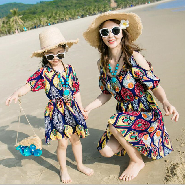 2018 Mother Daughter Matching Dresses Summer Style Mommy And Me Clothes Women Long Vintage Beach Dress
