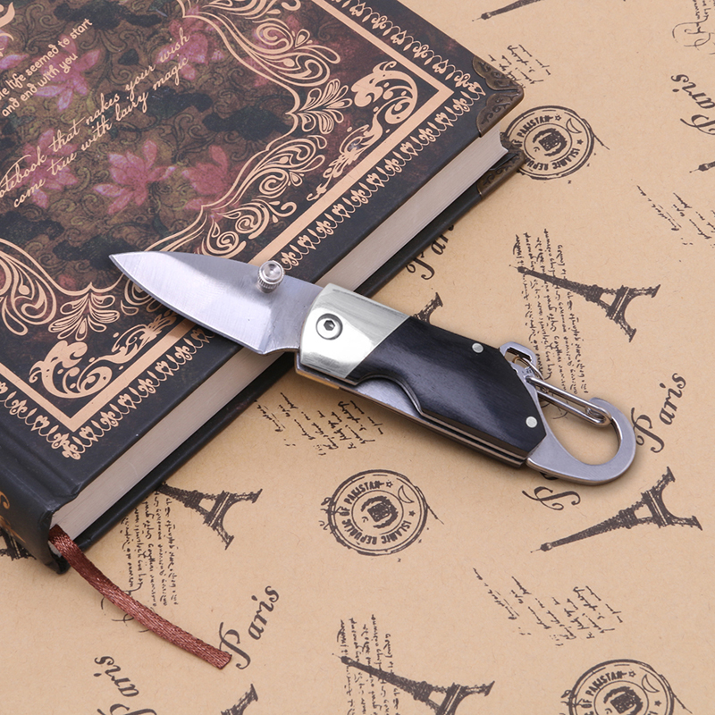 Camping Tools 1PC Mini Folding Knife Ebony Handle Keychain Pocket Vintage Collectible Outdoor Sports Outdoor Camping