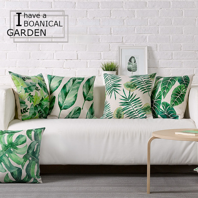 Wholesale Green Leaves Pillow Cover Cushion Cover Tropical Plants Home Decor  Throw Pillows Decorative Pillowcase Pillowsham